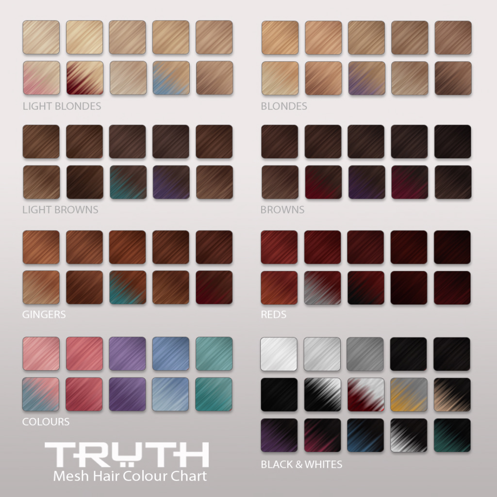 TRUTH HAIR - Mesh Hair Colour Chart copy